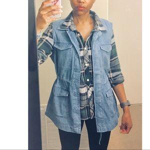 LOFT utility blue jean vest